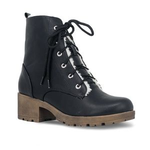 Chase + Chloe Shoes - Women's Lace Up Stacked Heel Black Combat Boot